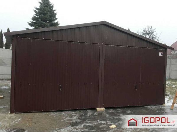 Garaż blaszany 6×5,5m – dwuspadowy