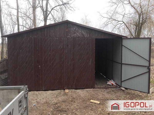 Garaz-blaszany-6x5,5m-dwuspadowy-kolor-ciemny-braz-ral-8017-2
