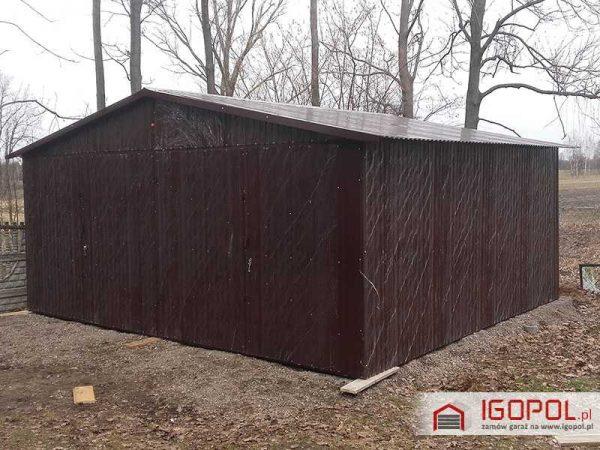 Garaż blaszany 6×5,5m – dwuspadowy – ciemny brąz ral 8017