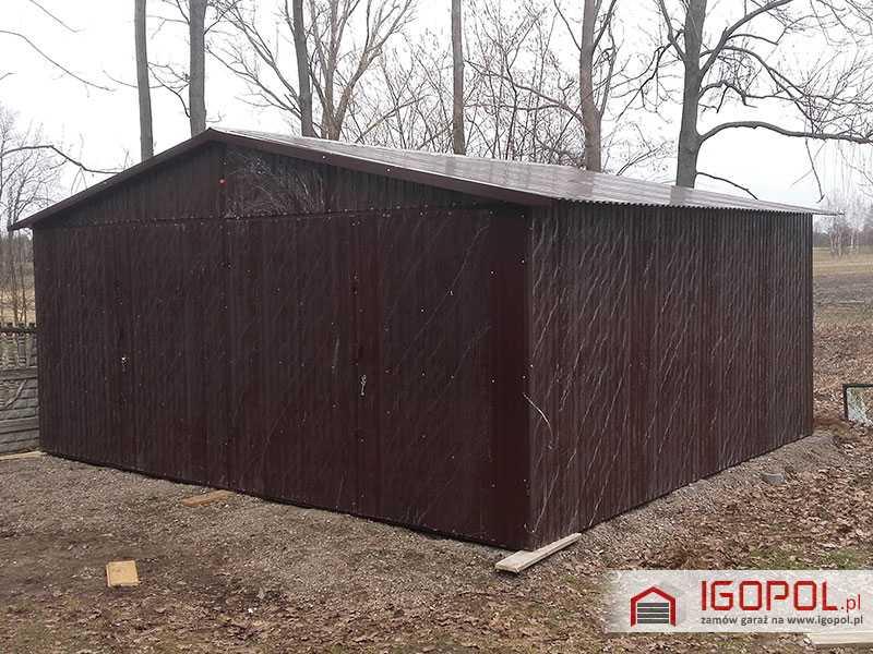 Garaz-blaszany-6x5,5m-dwuspadowy-kolor-ciemny-braz-ral-8017