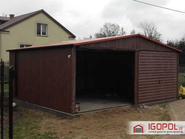 Garaż blaszany 6x5,5m - Kolor Orzech