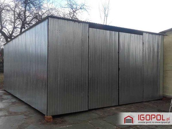 Garaż blaszany 6×7m – spad w tył – ocynk