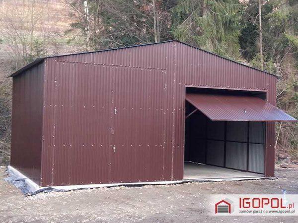 Garaż blaszany 7x6m – dwuspadowy