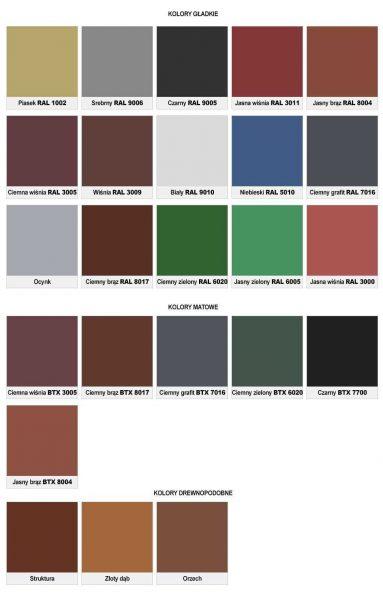 kolory garaży blaszanych